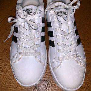 white adidas cloud foam tennis shoes